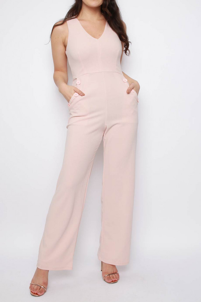 V-neck Wide Leg Sleeveless Jumpsuit