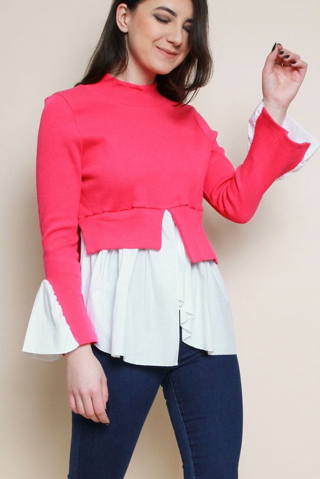 Contrast Top with Shirt Hem