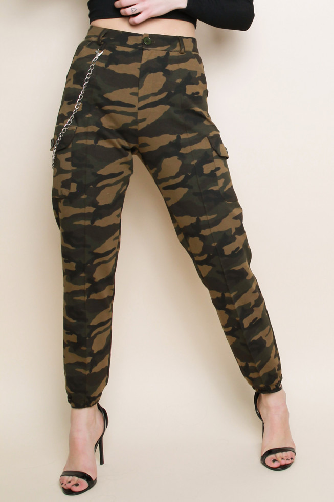 Camouflage Chain Cargo Trousers