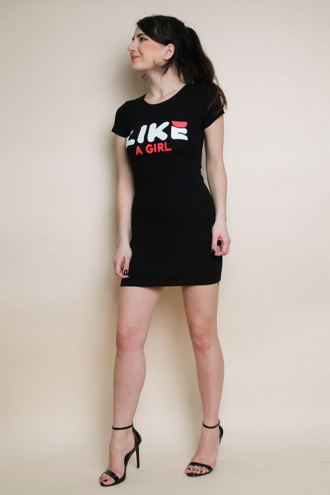 Like A Girl Slogan T-shirt Dress