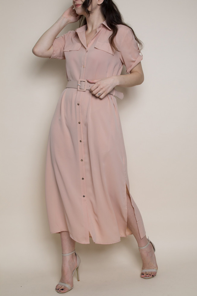 Wholesale Clothing UK Belted Button Down Maxi Shirt Dress , Online ...