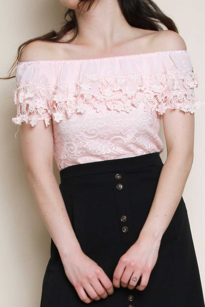 Bardot Off Shoulder Crochet Detail Frill Lace Top