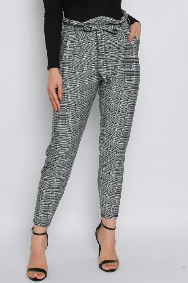 Check Paperbag Tie Waist Trousers
