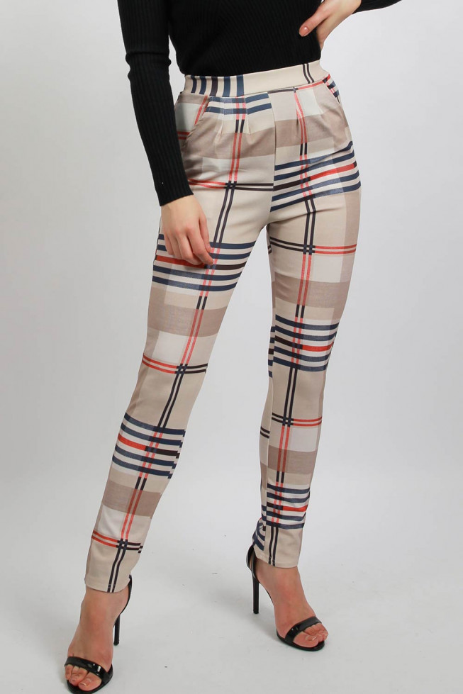 Side Pocket Checked Printed Trousers