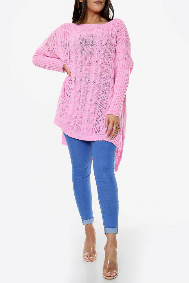 High Low Oversized Longline Knitted Jumper