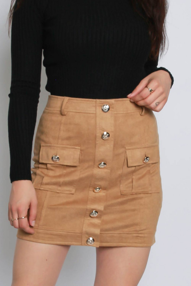 Suedette High Waisted Skirt