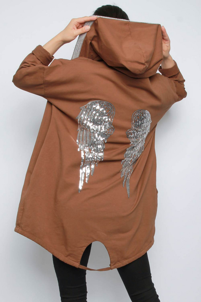 Sequin Wings Back Hoodie Cardigan