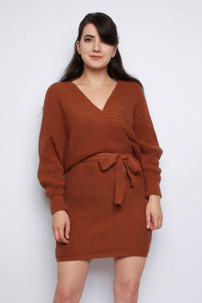 V-neck Wrap Belted Knitted Jumper Dress