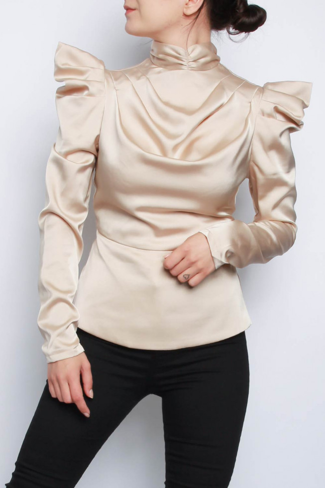 Puff Long Sleeve Satin Top