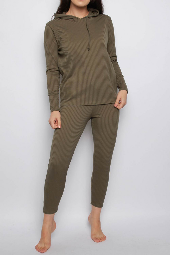 Ribbed Hoodie & Jogger Co-ord Lounge Set