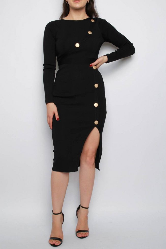 Button Split Midi Knitted Dress