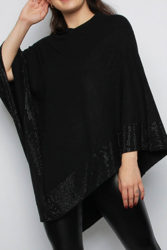 Diamante Detail V-neck Poncho