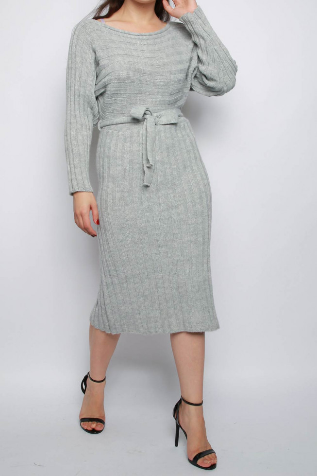 Belted Knitted Midi Jumper Dress