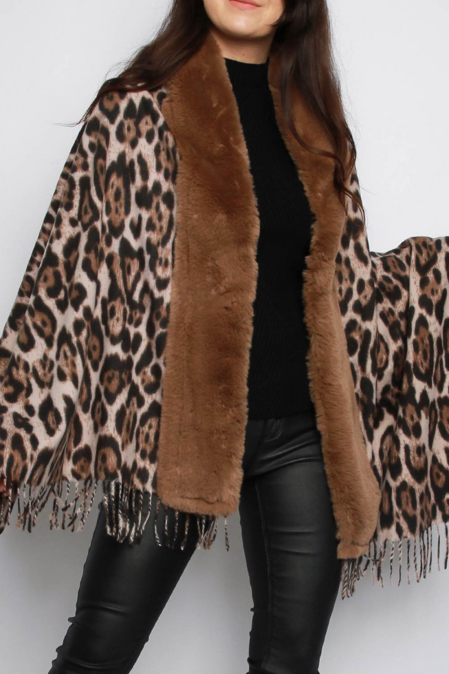 Leopard Print Shawl with Faux Fur Trim