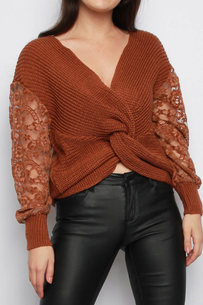 Twisted Front Lace Sleeves Knitted Jumper