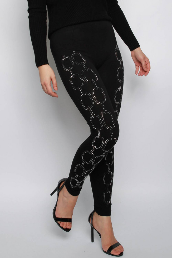 Diamante Embellished Double Jersey Leggings