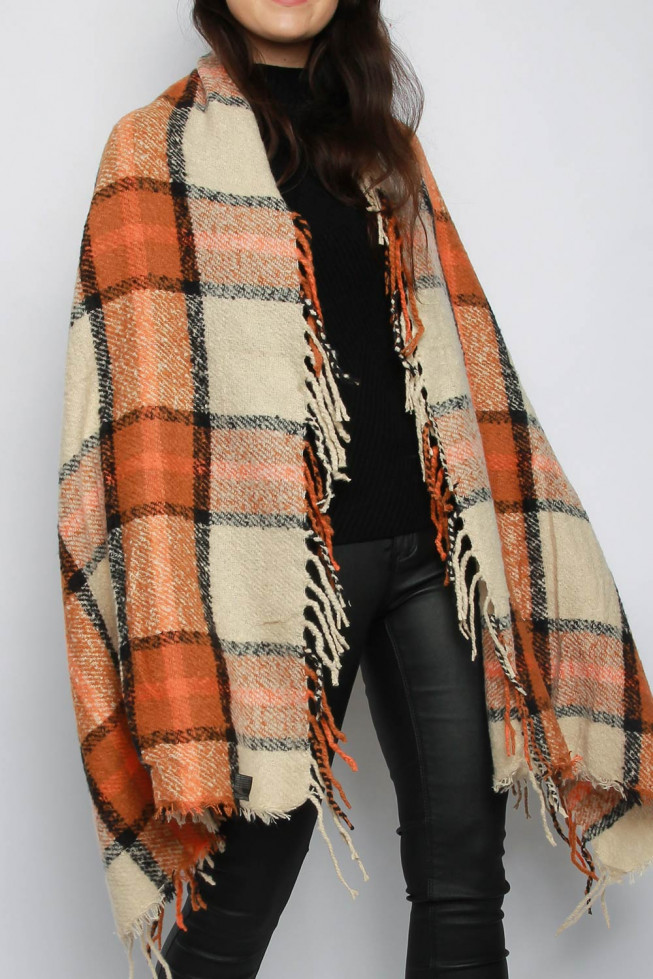 Check Print Chunky Knitted Poncho Shawl