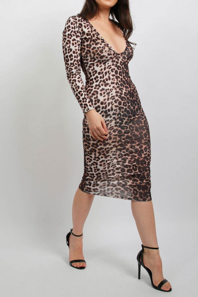 Plunge Leopard Midi Bodycon Dress