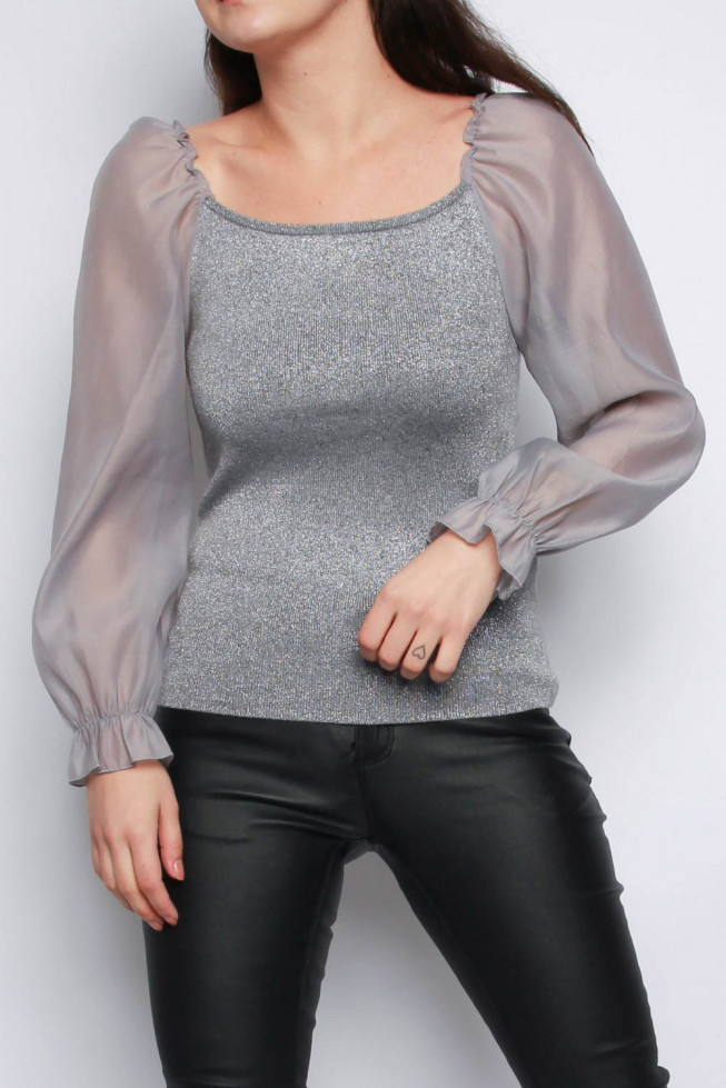 Organza Sleeves Square Neck Knitted Jumper