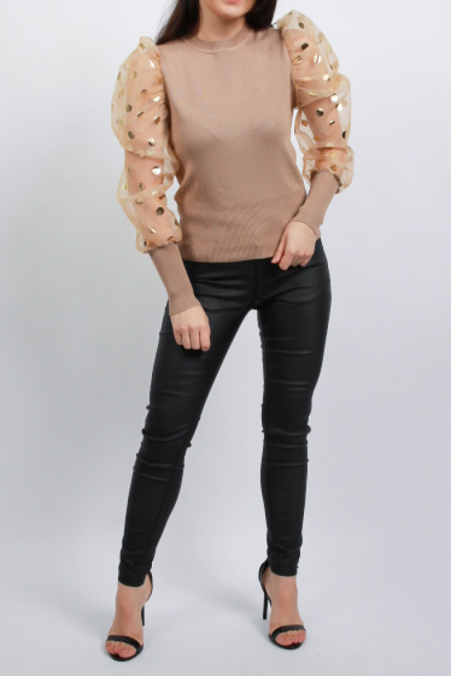 Organza Metallic Polka Dot Sleeves Knitted Jumper