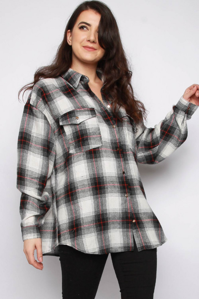 Check Brushed Flannel Oversized Shirt
