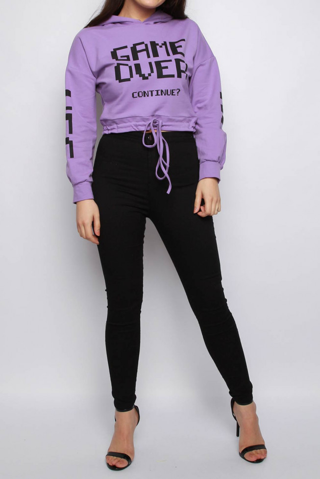 Game Over Slogan Cropped Hoodie