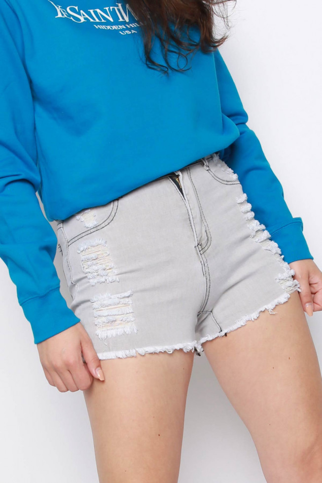 Denim Distressed High Waisted Shorts