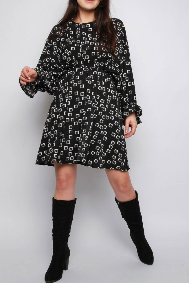 Geometric Print Batwing Dress