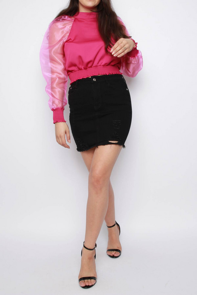 Organza Sleeve Cropped Top