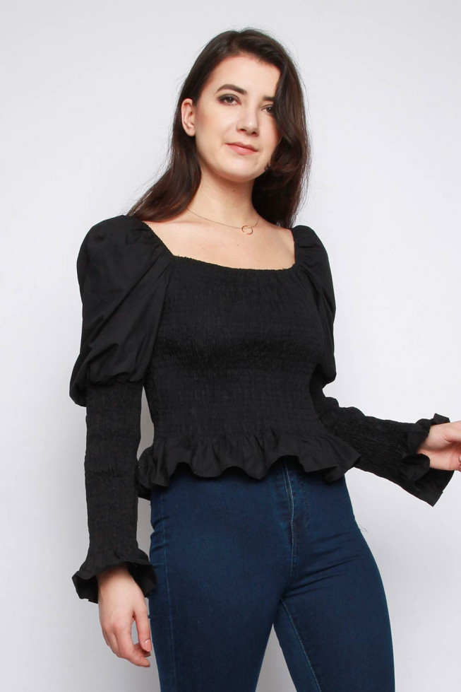 Shirred Square Neck Top