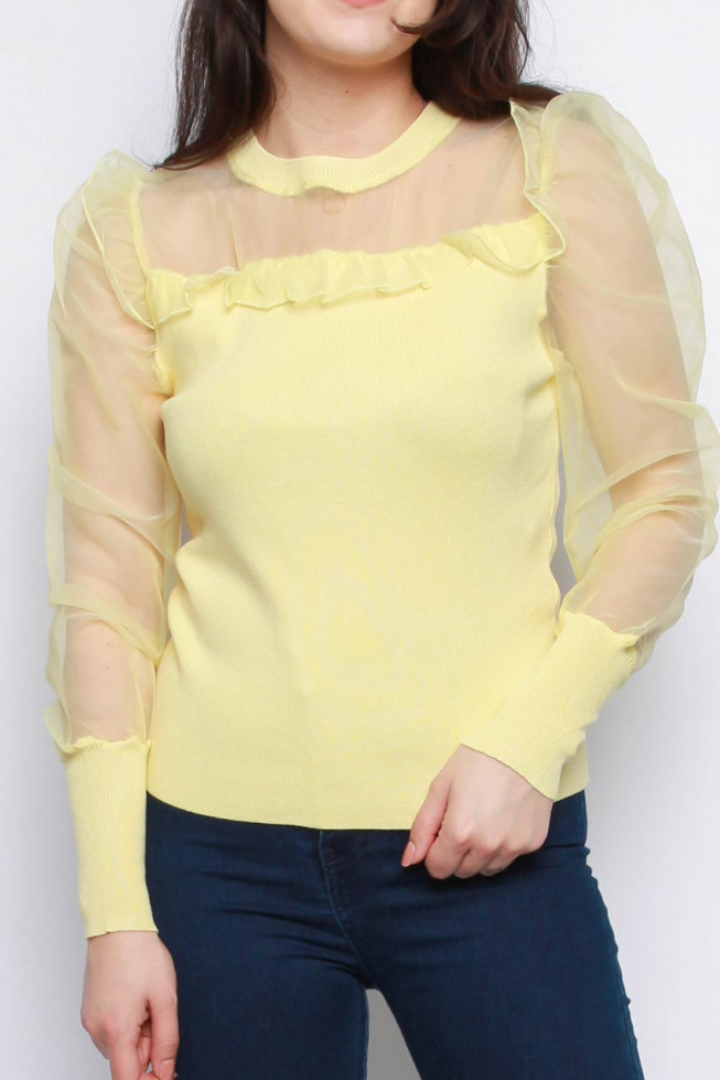 Organza Sleeve Knitted Jumper