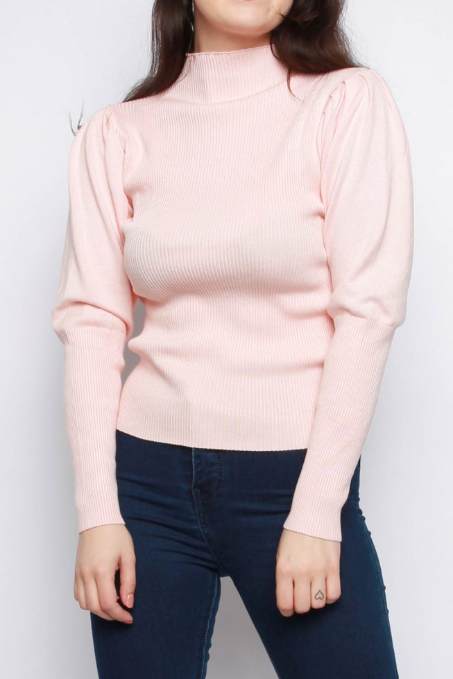 Ribbed Puff Sleeve Knitted Jumper