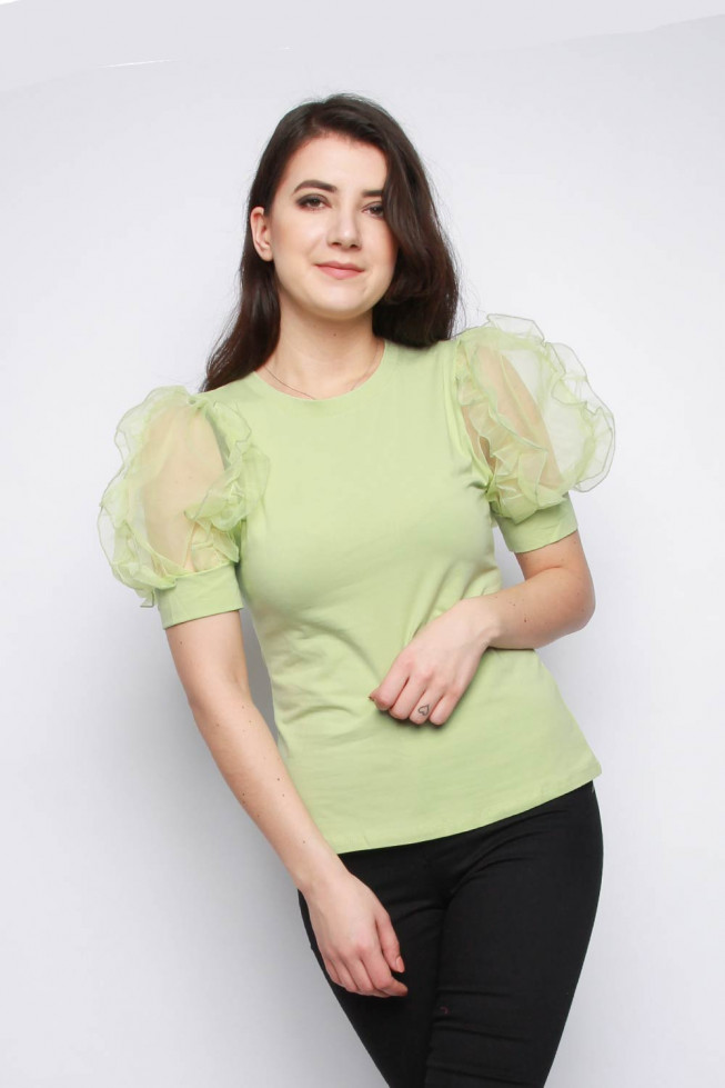 Organza Sleeve T-shirt