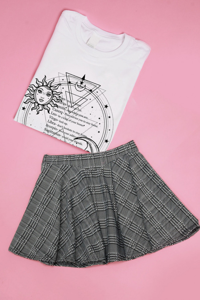Check Monochrome Skirt