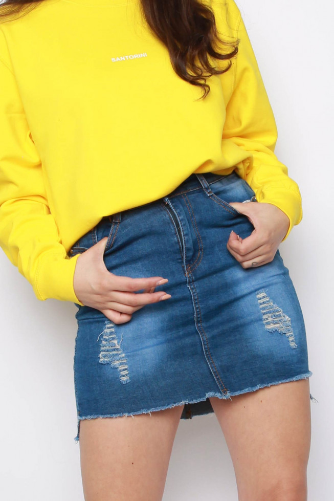Denim High-Low High Waisted Skirt