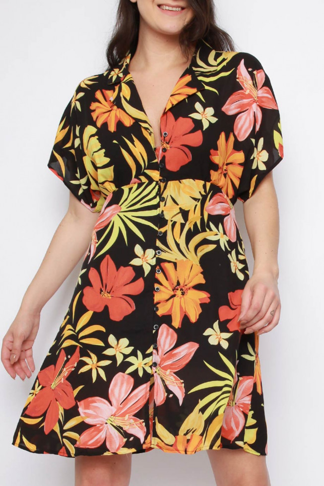 Tropical Button Down Dress