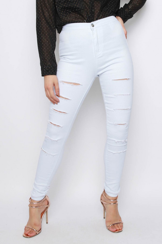 Slash Skinny Denim Jeans