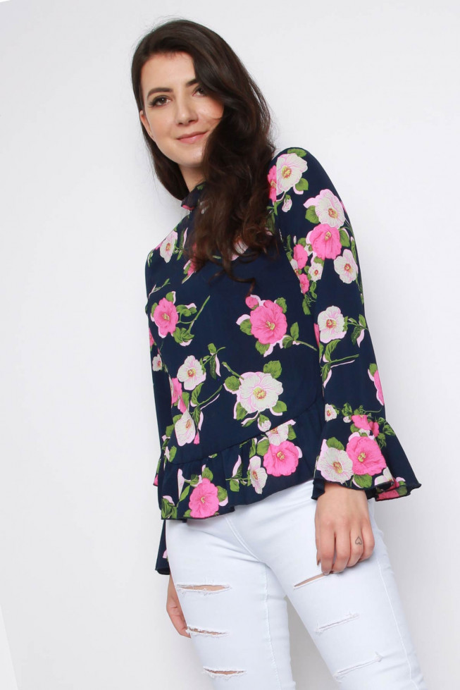 Frill Floral Crepe Top