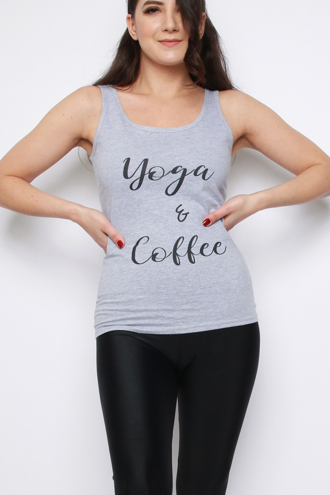 Yoga and Coffee Sleeveless Vest Top