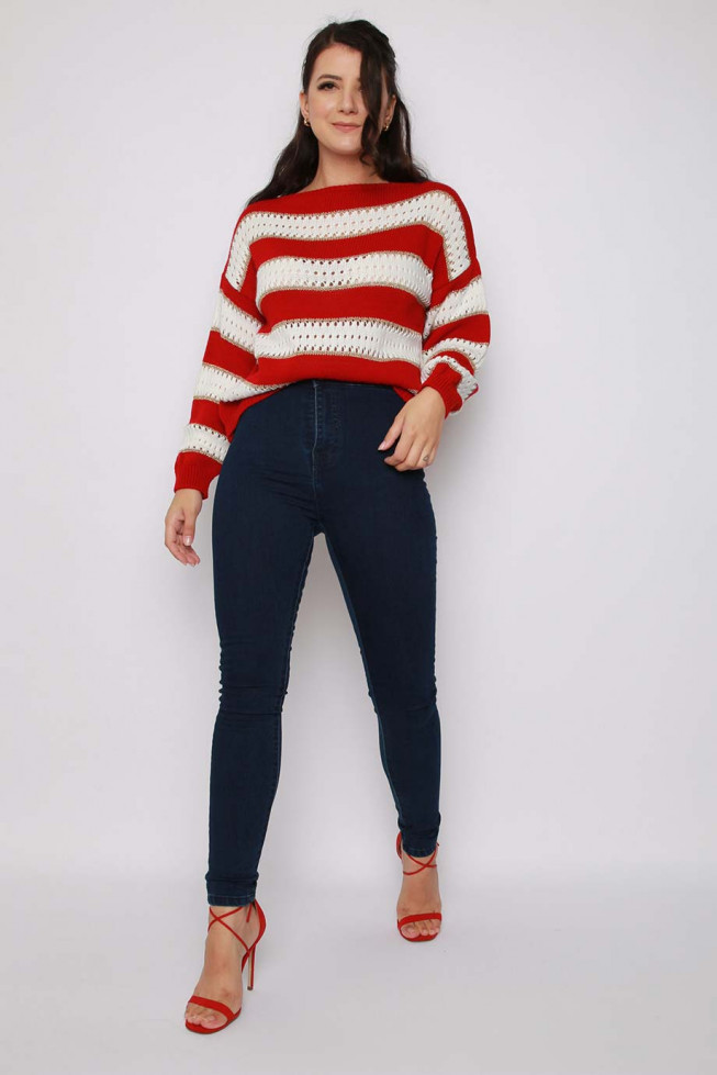 Stripe Metallic Knitted Jumper
