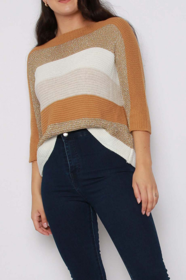 Batwing Stripe Metallic Knitted Jumper