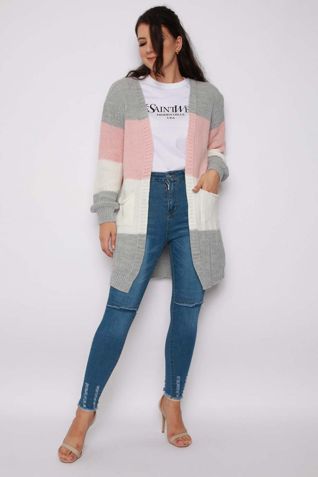 Stripe Longline Knitted Cardigan with Pockets