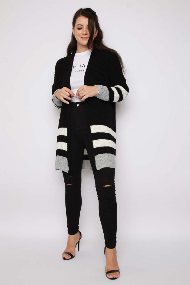 Stripe Longline Knitted Cardigan