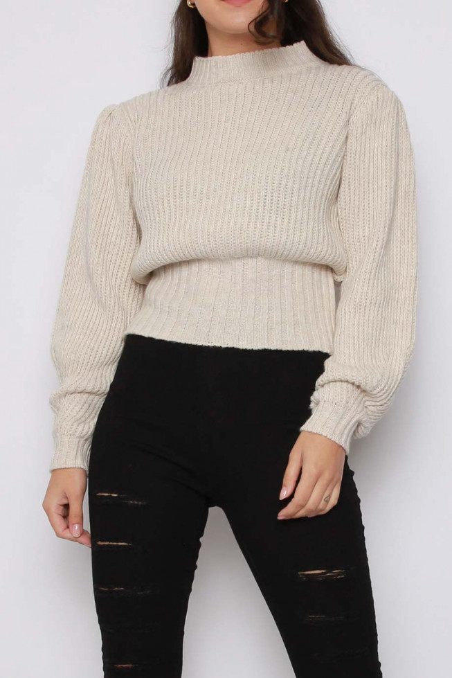 Puff Sleeve Knitted Jumper