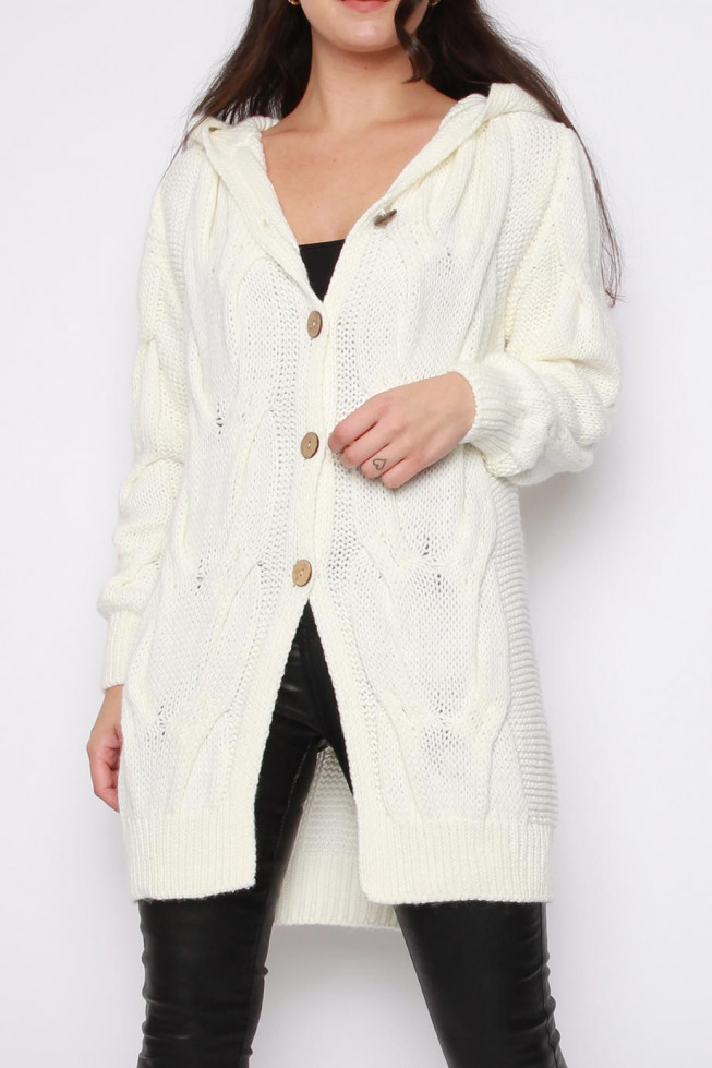 Button Hooded Knitted Cardigan