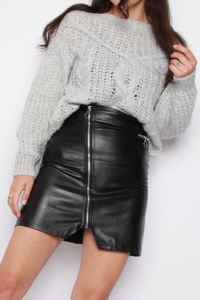 Faux Leather Zip PU Skirt
