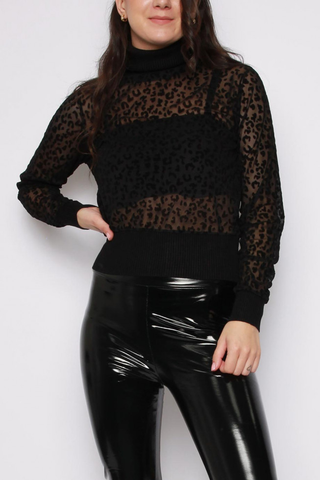Leopard High Neck Knitted Top