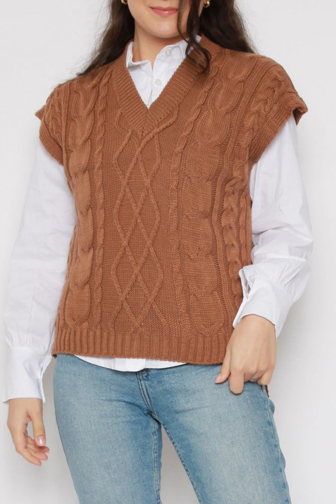 V-neck Cable Knitted Sweater Vest