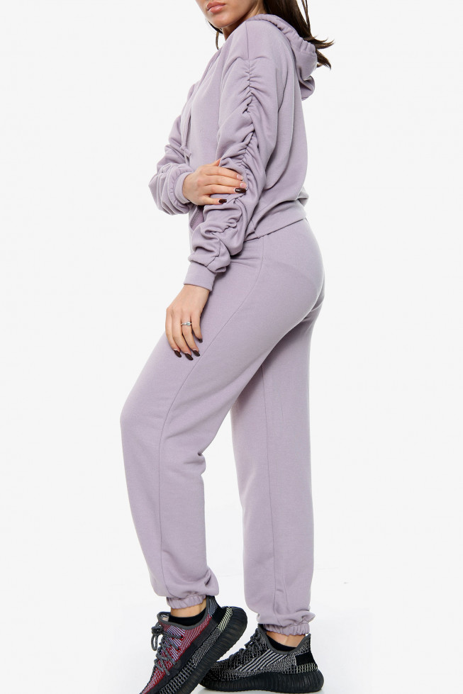 Ruched Sleeve Hoodie and Jogger Lounge Set