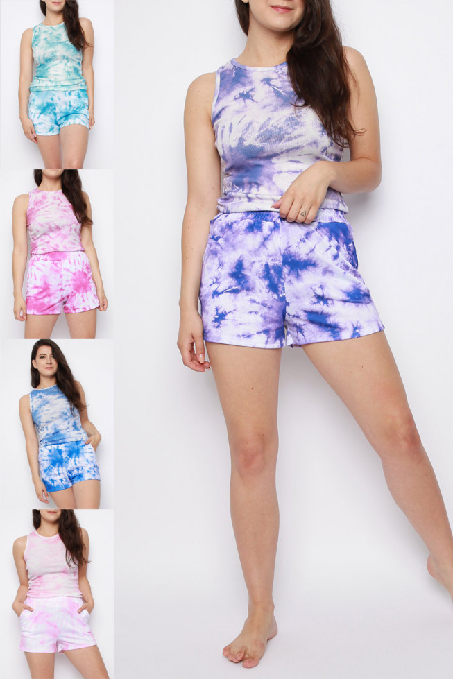 Tie Dye Sleeveless Vest Top & Shorts Co-ord Set